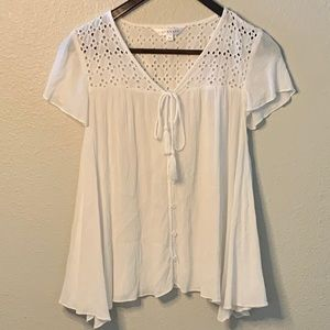 DownEast White Boho Button Up Blouse XS NWOT